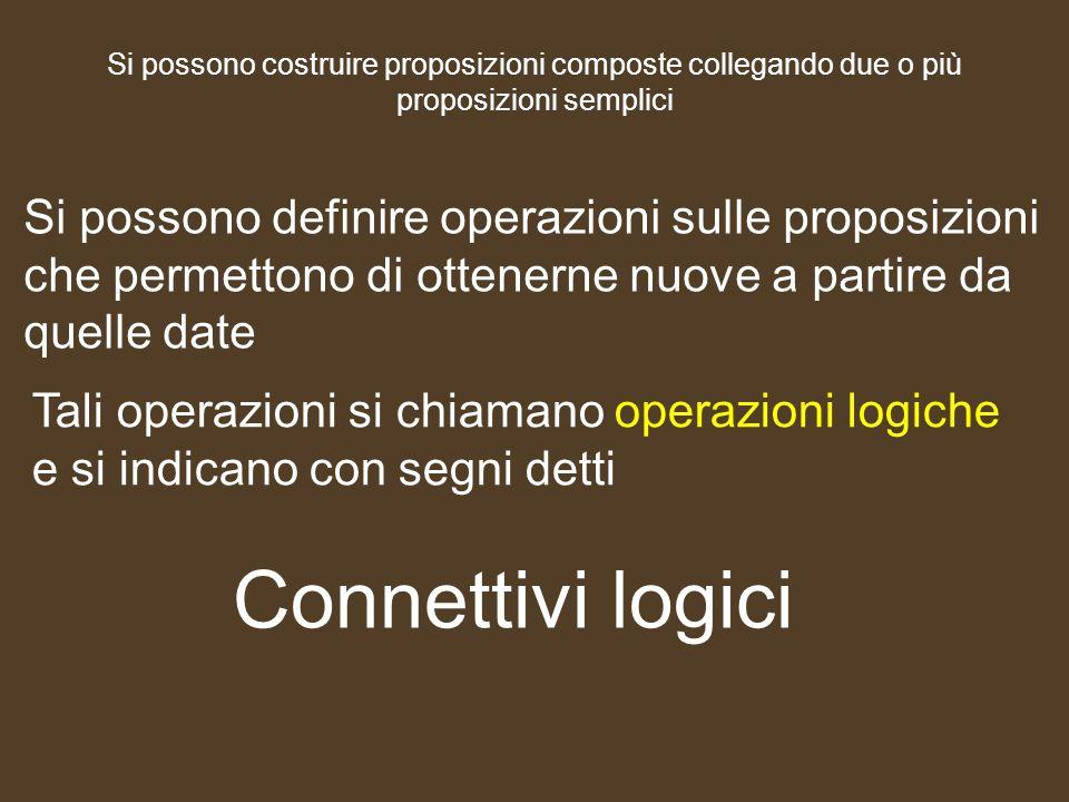 Si possono costruire proposizioni composte collegando due o più proposizioni semplici