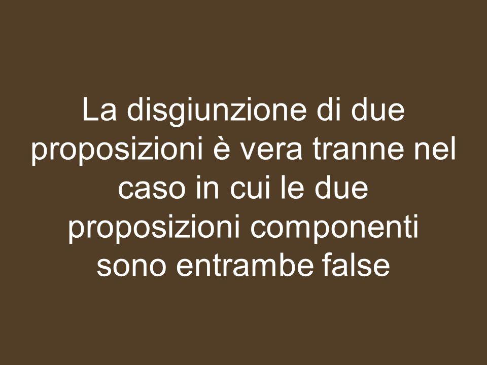 La disgiunzione di due proposizioni è vera tranne nel caso in cui le due proposizioni componenti sono entrambe false