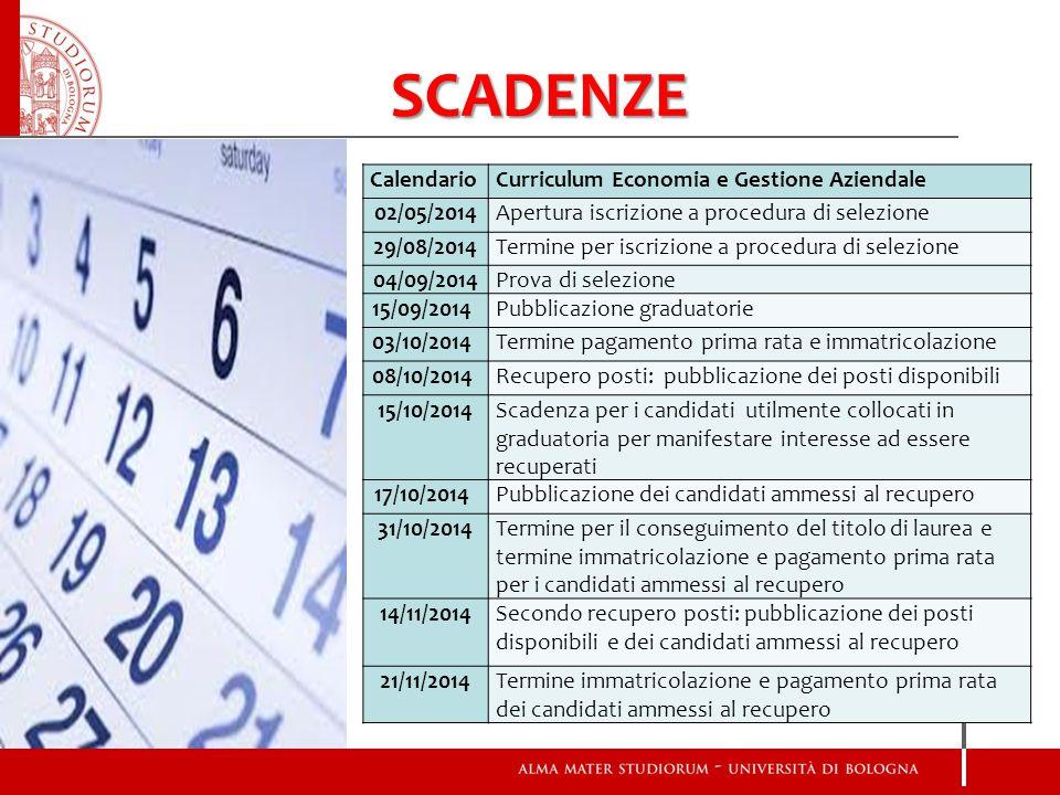SCADENZE Calendario Curriculum Economia e Gestione Aziendale