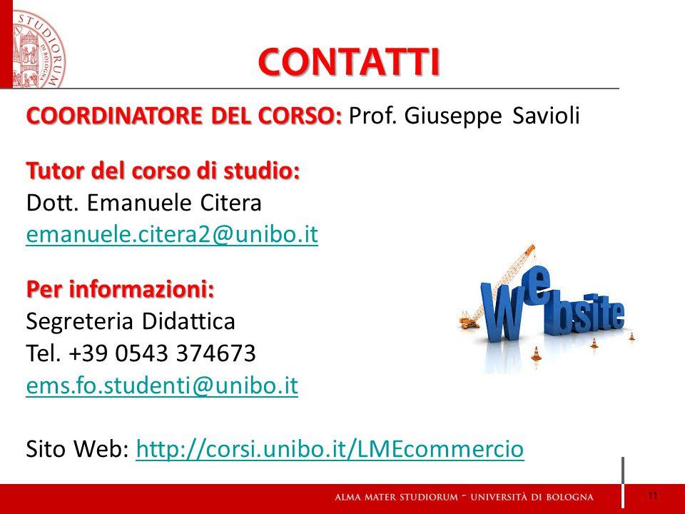 CONTATTI COORDINATORE DEL CORSO: Prof. Giuseppe Savioli