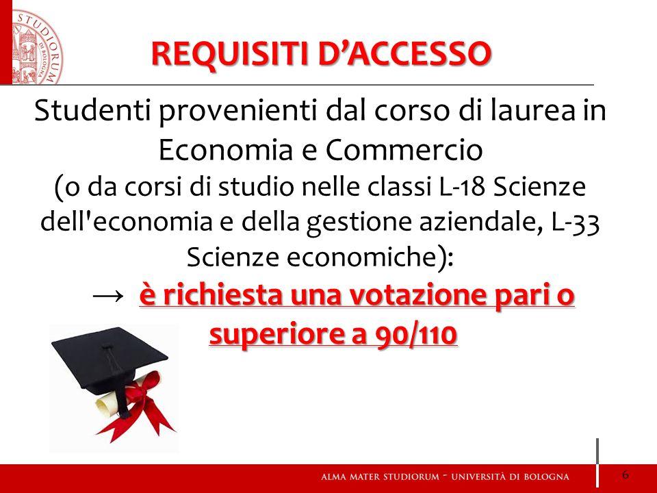 REQUISITI D'ACCESSO Studenti provenienti dal corso di laurea in Economia e Commercio.