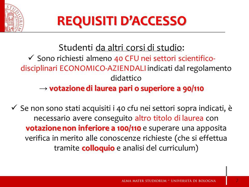 REQUISITI D'ACCESSO Studenti da altri corsi di studio: