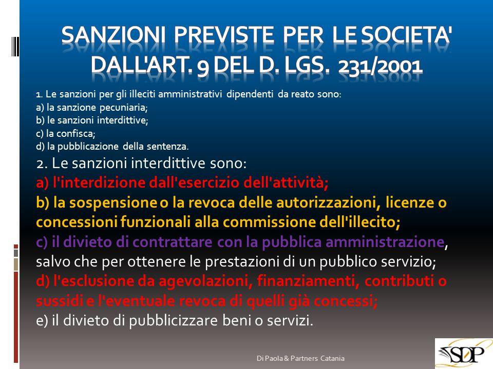 SANZIONI PREVISTE PER LE SOCIETA DALL ART. 9 DEL D. Lgs. 231/2001