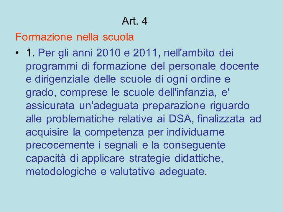 Art. 4 Formazione nella scuola.