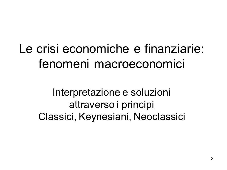 Le crisi economiche e finanziarie: fenomeni macroeconomici Interpretazione e soluzioni attraverso i principi Classici, Keynesiani, Neoclassici