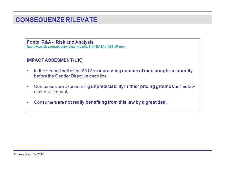 CONSEGUENZE RILEVATE Fonte: R&A - Risk and Analysis