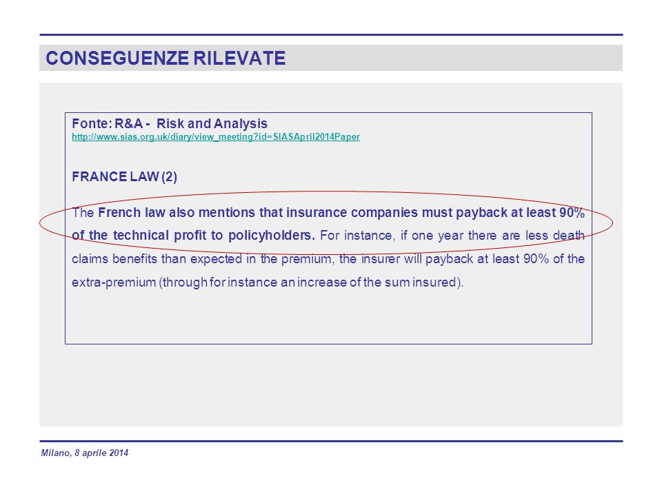 CONSEGUENZE RILEVATE Fonte: R&A - Risk and Analysis FRANCE LAW (2)
