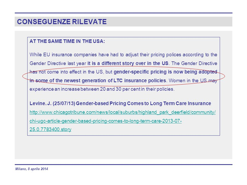 CONSEGUENZE RILEVATE AT THE SAME TIME IN THE USA: