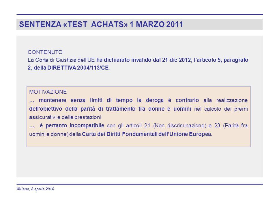 SENTENZA «TEST ACHATS» 1 MARZO 2011