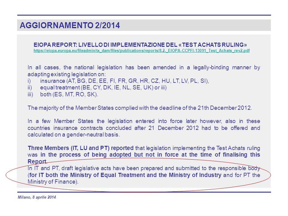 AGGIORNAMENTO 2/2014 EIOPA REPORT: LIVELLO DI IMPLEMENTAZIONE DEL «TEST ACHATS RULING»