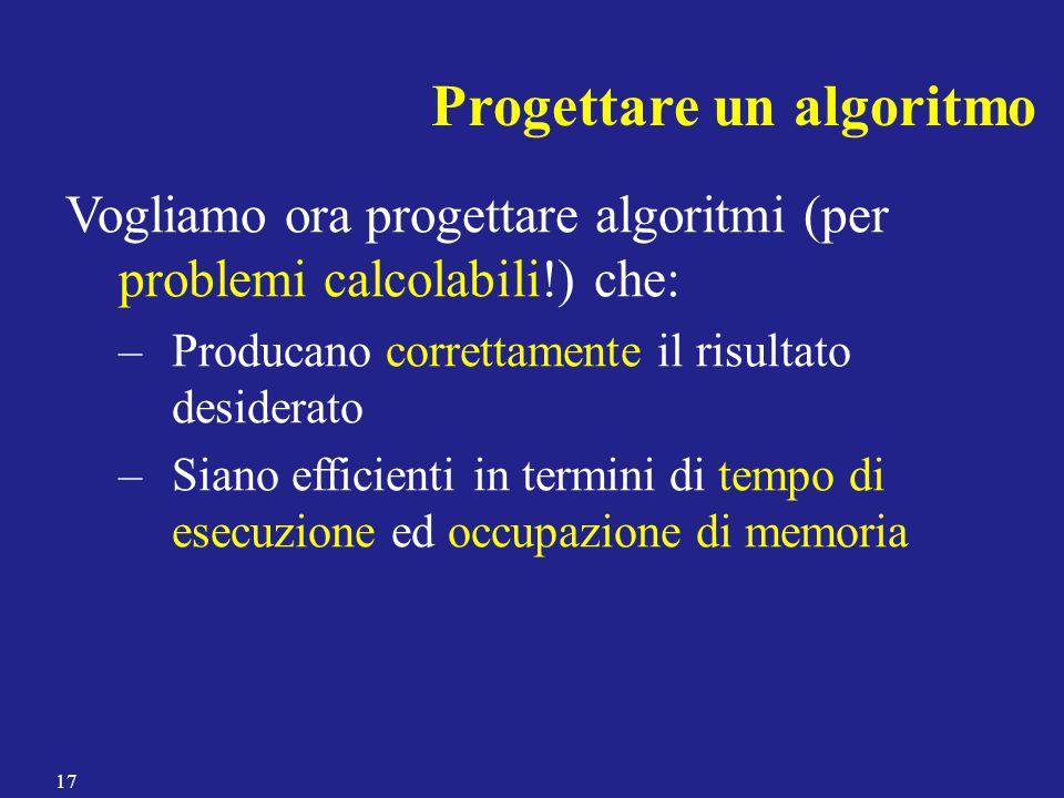 Progettare un algoritmo