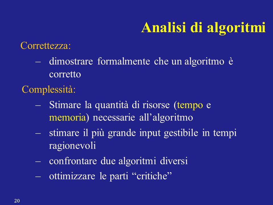 Analisi di algoritmi Correttezza: