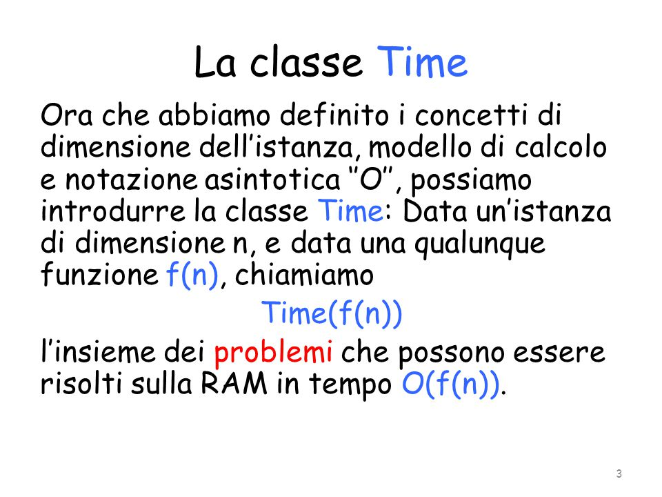 La classe Time