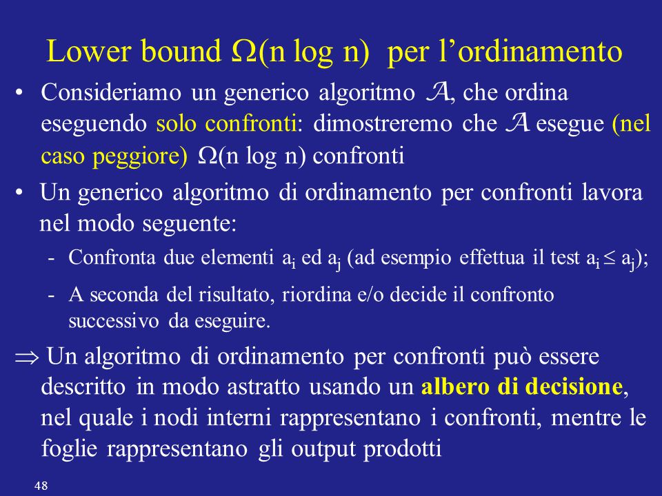 Lower bound W(n log n) per l'ordinamento