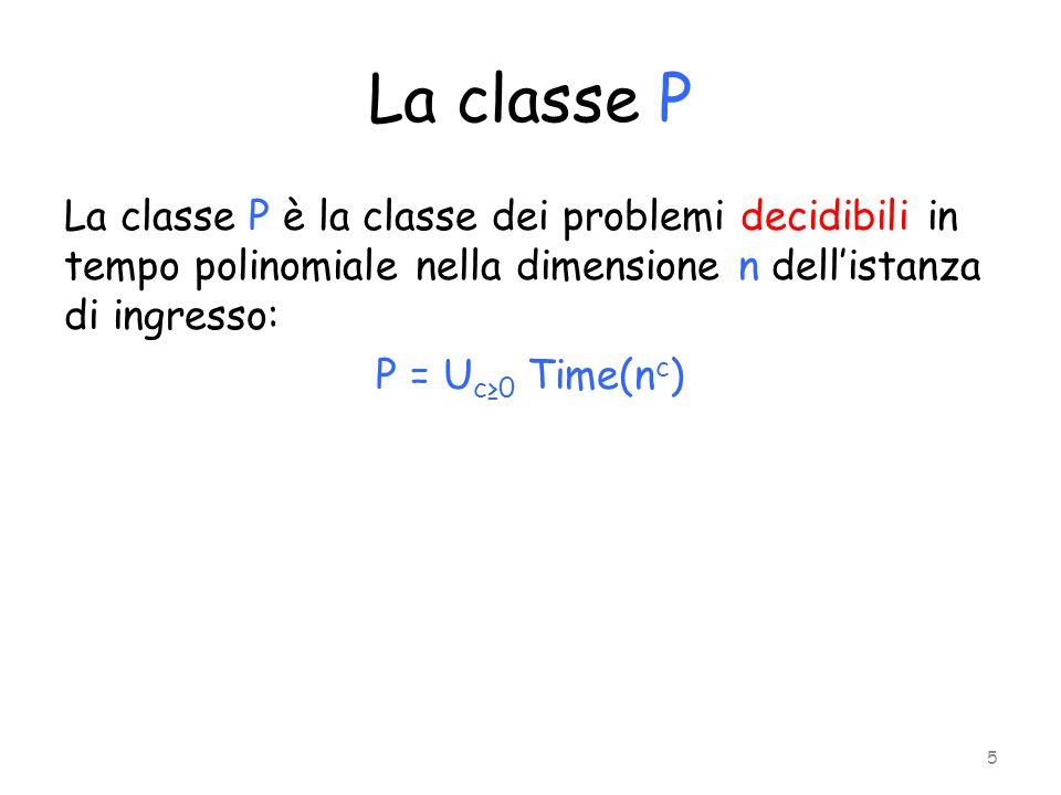 La classe P La classe P è la classe dei problemi decidibili in tempo polinomiale nella dimensione n dell'istanza di ingresso: P = Uc≥0 Time(nc)