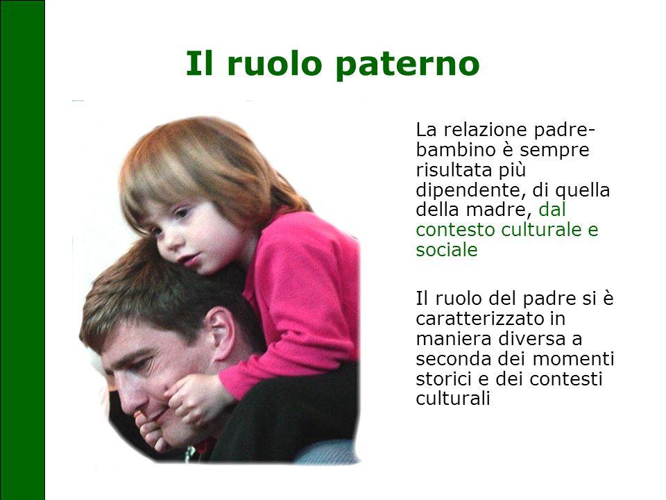 Il ruolo paterno La relazione padre-bambino è sempre risultata più dipendente, di quella della madre, dal contesto culturale e sociale.
