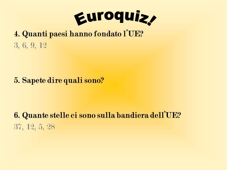 Euroquiz! 4. Quanti paesi hanno fondato l'UE 3, 6, 9, 12