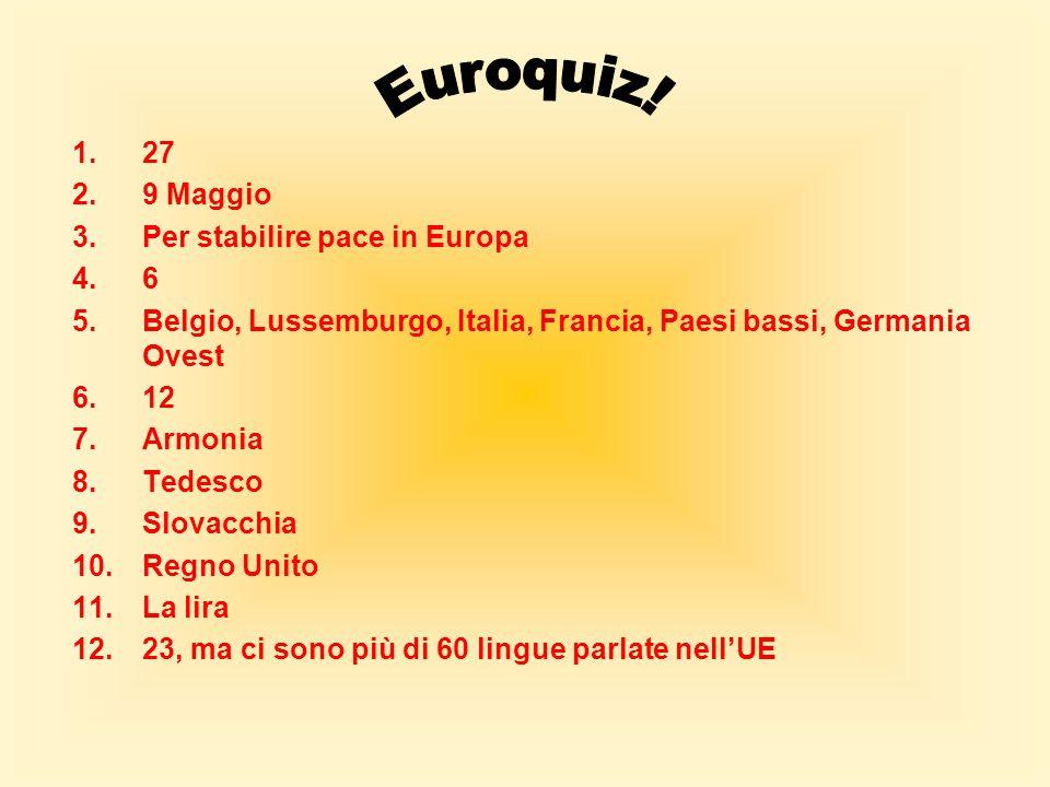 Euroquiz! 27 9 Maggio Per stabilire pace in Europa 6