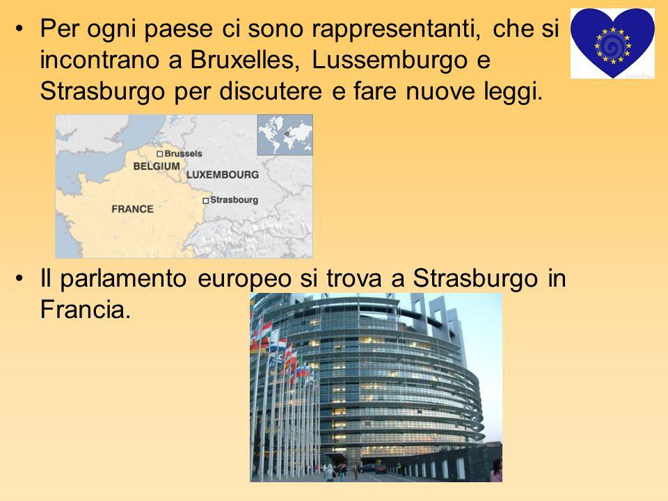 Per ogni paese ci sono rappresentanti, che si incontrano a Bruxelles, Lussemburgo e Strasburgo per discutere e fare nuove leggi.