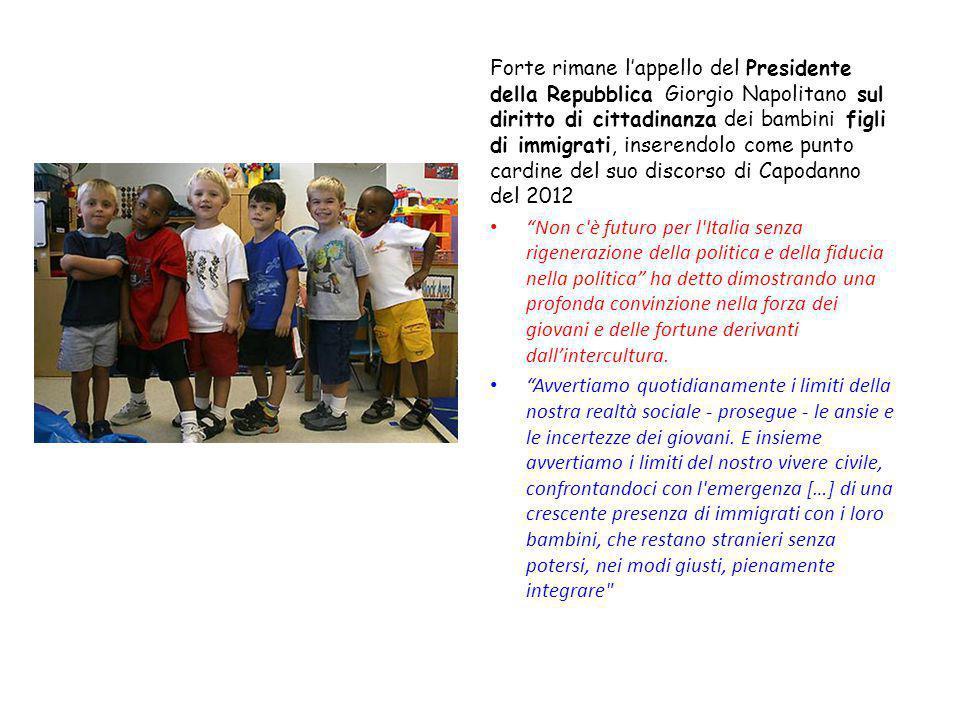 Forte rimane l'appello del Presidente della Repubblica Giorgio Napolitano sul diritto di cittadinanza dei bambini figli di immigrati, inserendolo come punto cardine del suo discorso di Capodanno del 2012