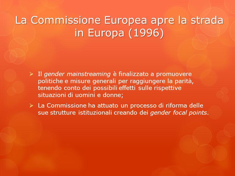 La Commissione Europea apre la strada in Europa (1996)
