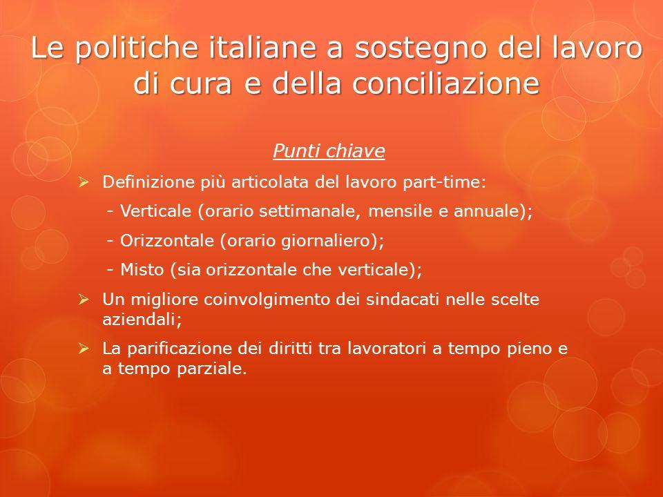Le politiche italiane a sostegno del lavoro di cura e della conciliazione