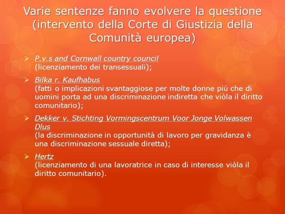 Varie sentenze fanno evolvere la questione (intervento della Corte di Giustizia della Comunità europea)