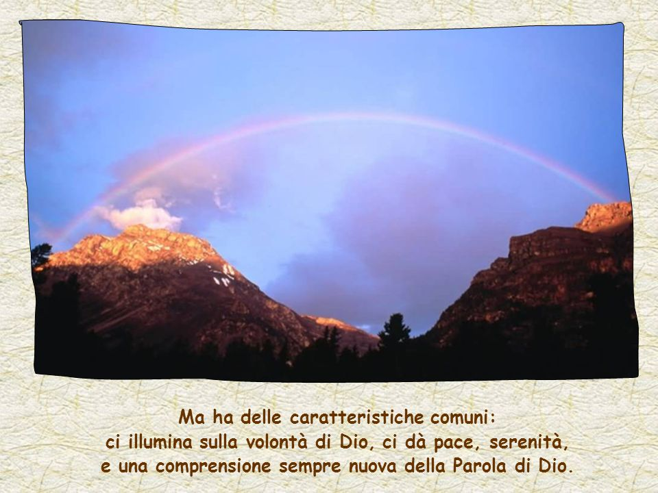 Ma ha delle caratteristiche comuni: ci illumina sulla volontà di Dio, ci dà pace, serenità, e una comprensione sempre nuova della Parola di Dio.