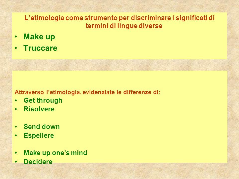 L'etimologia come strumento per discriminare i significati di termini di lingue diverse