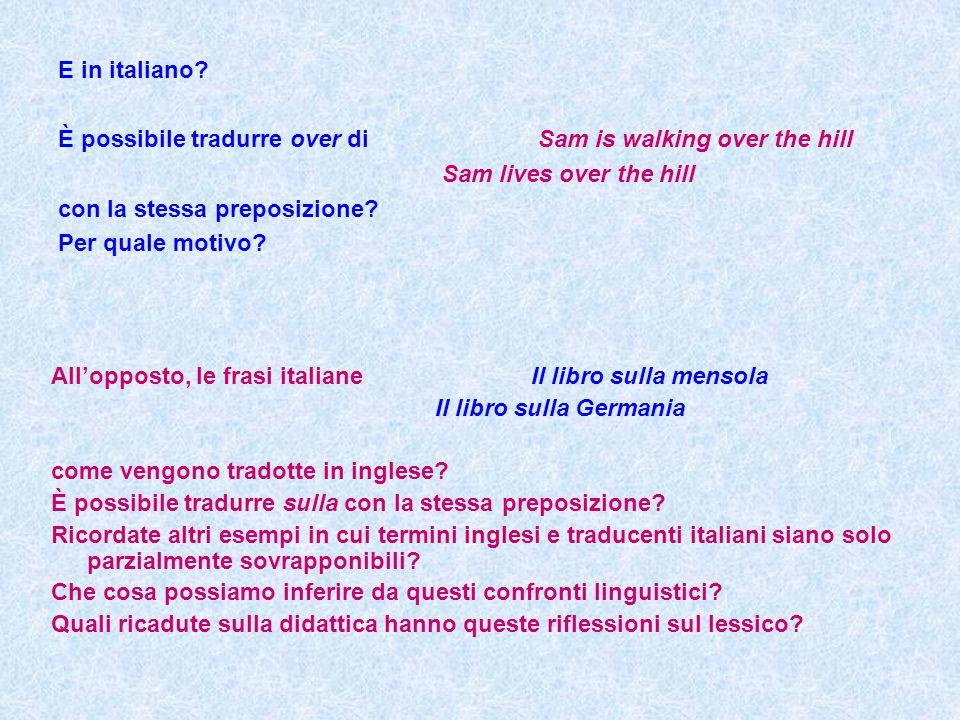 E in italiano È possibile tradurre over di Sam is walking over the hill. Sam lives over the hill.
