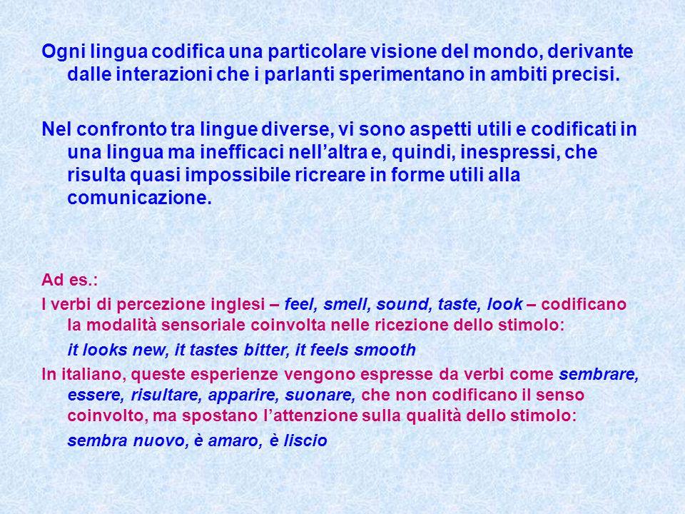 Ogni lingua codifica una particolare visione del mondo, derivante dalle interazioni che i parlanti sperimentano in ambiti precisi.