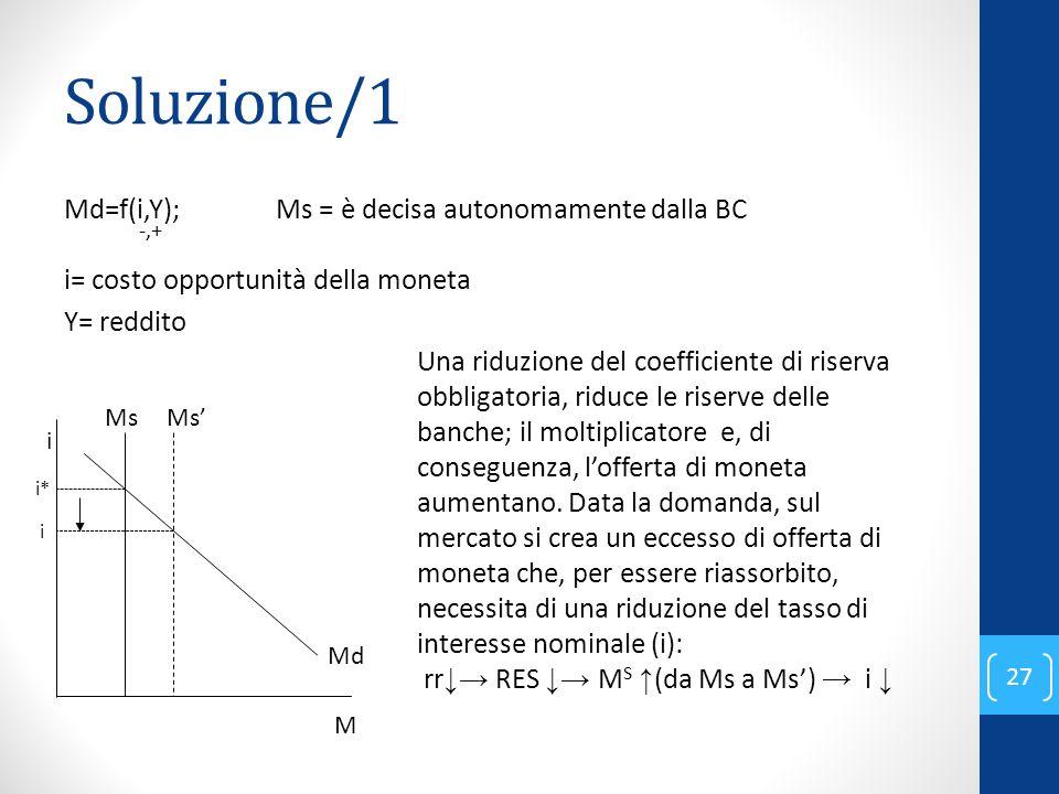Soluzione/1 Md=f(i,Y); Ms = è decisa autonomamente dalla BC -,+