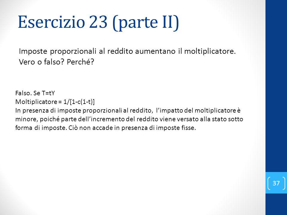 Esercizio 23 (parte II) Imposte proporzionali al reddito aumentano il moltiplicatore. Vero o falso Perché