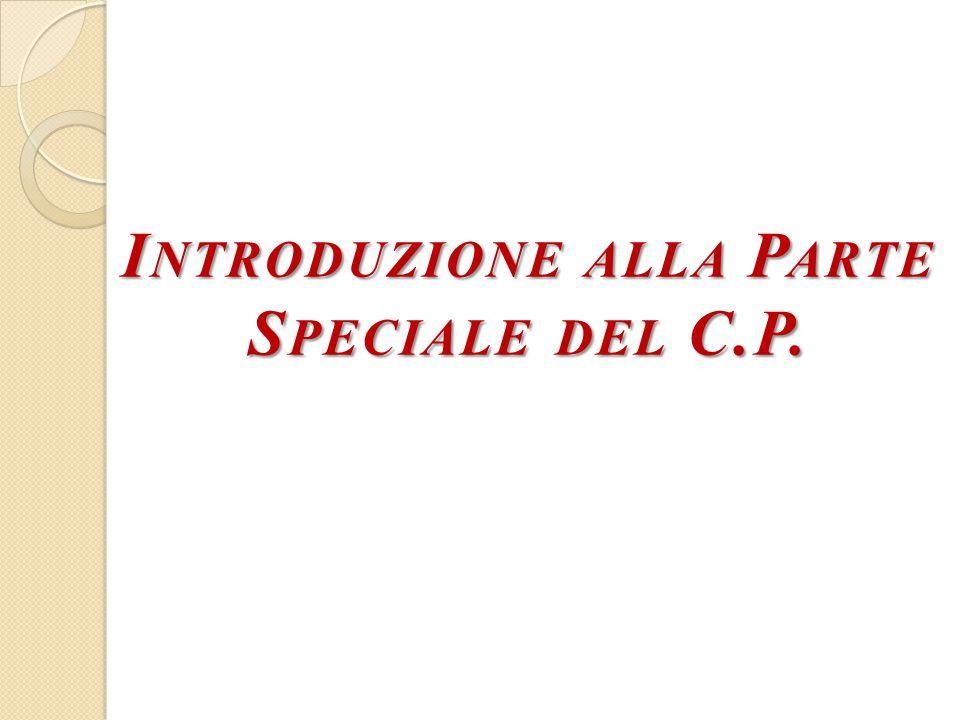 Introduzione alla Parte Speciale del C.P.