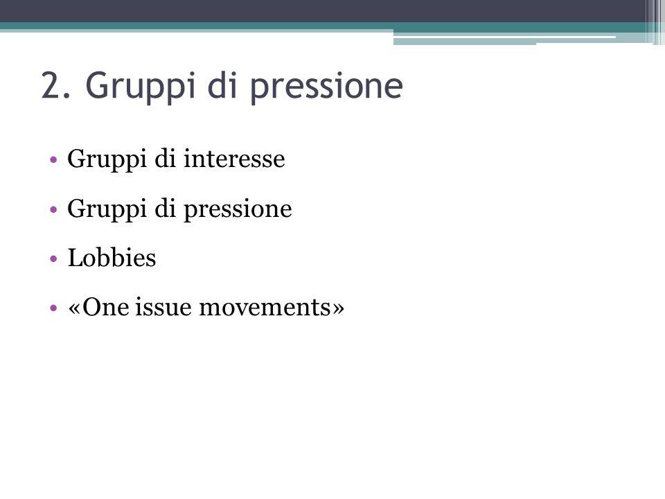 2. Gruppi di pressione Gruppi di interesse Gruppi di pressione Lobbies