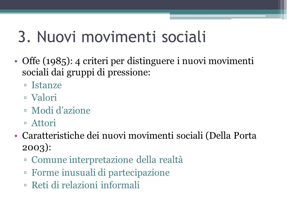 3. Nuovi movimenti sociali