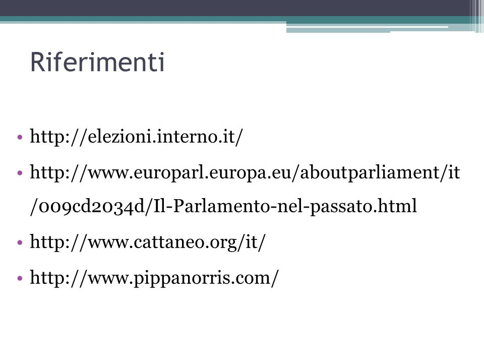 Riferimenti http://elezioni.interno.it/