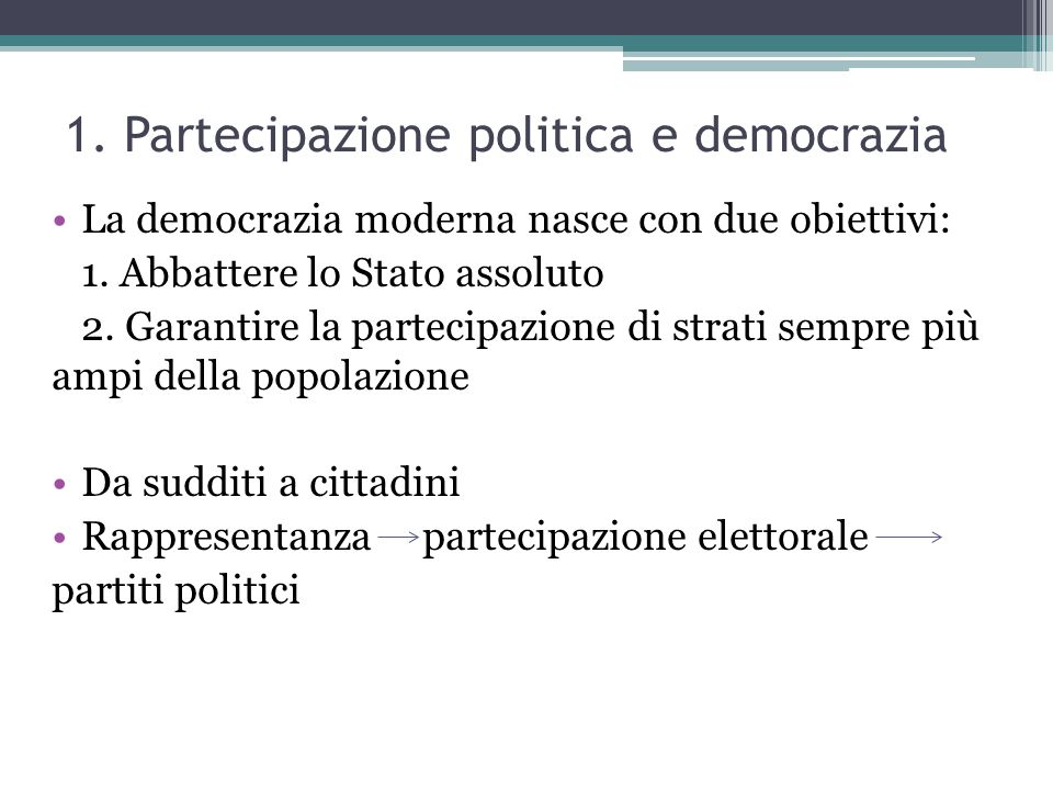 1. Partecipazione politica e democrazia