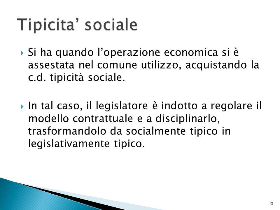 Tipicita' sociale Si ha quando l'operazione economica si è assestata nel comune utilizzo, acquistando la c.d. tipicità sociale.