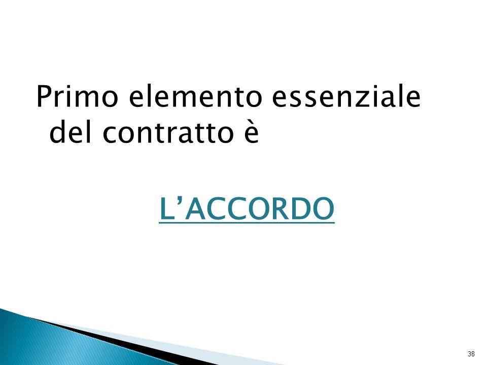 Primo elemento essenziale del contratto è L'ACCORDO