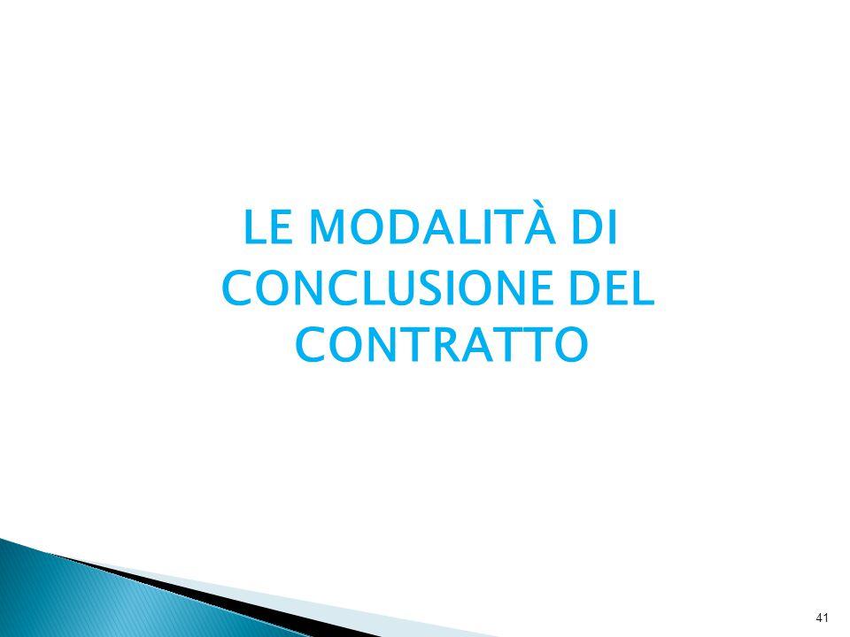 LE MODALITÀ DI CONCLUSIONE DEL CONTRATTO