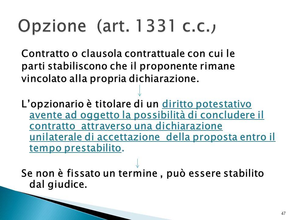 Opzione (art. 1331 c.c.)