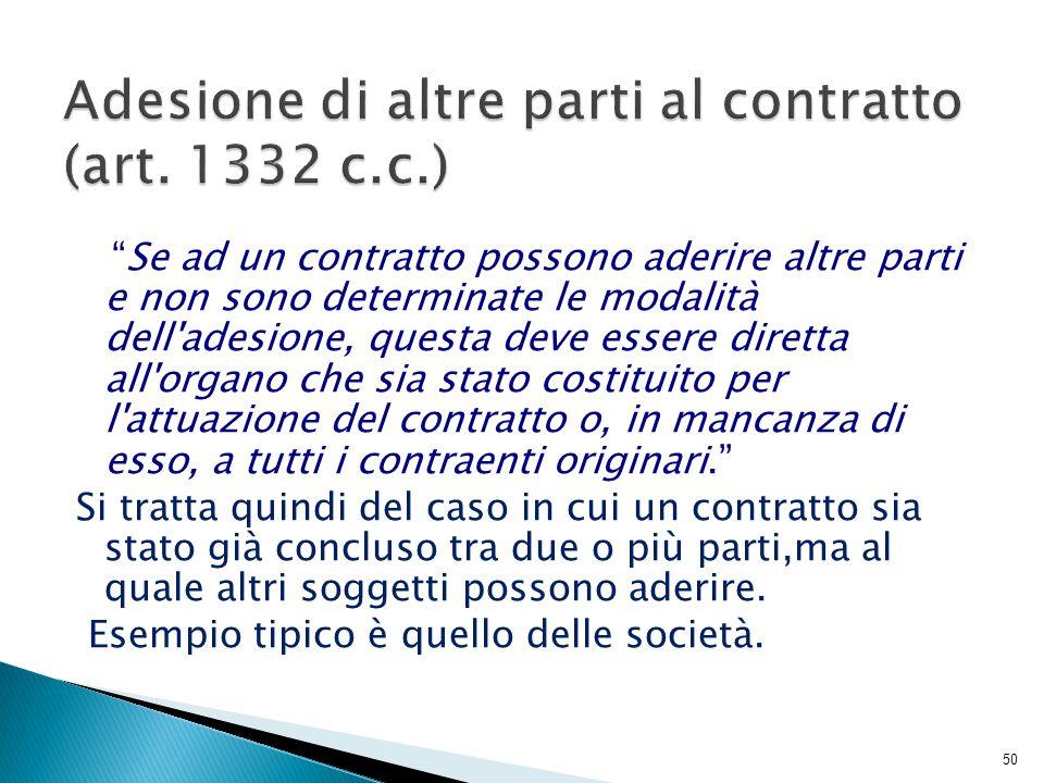 Adesione di altre parti al contratto (art. 1332 c.c.)
