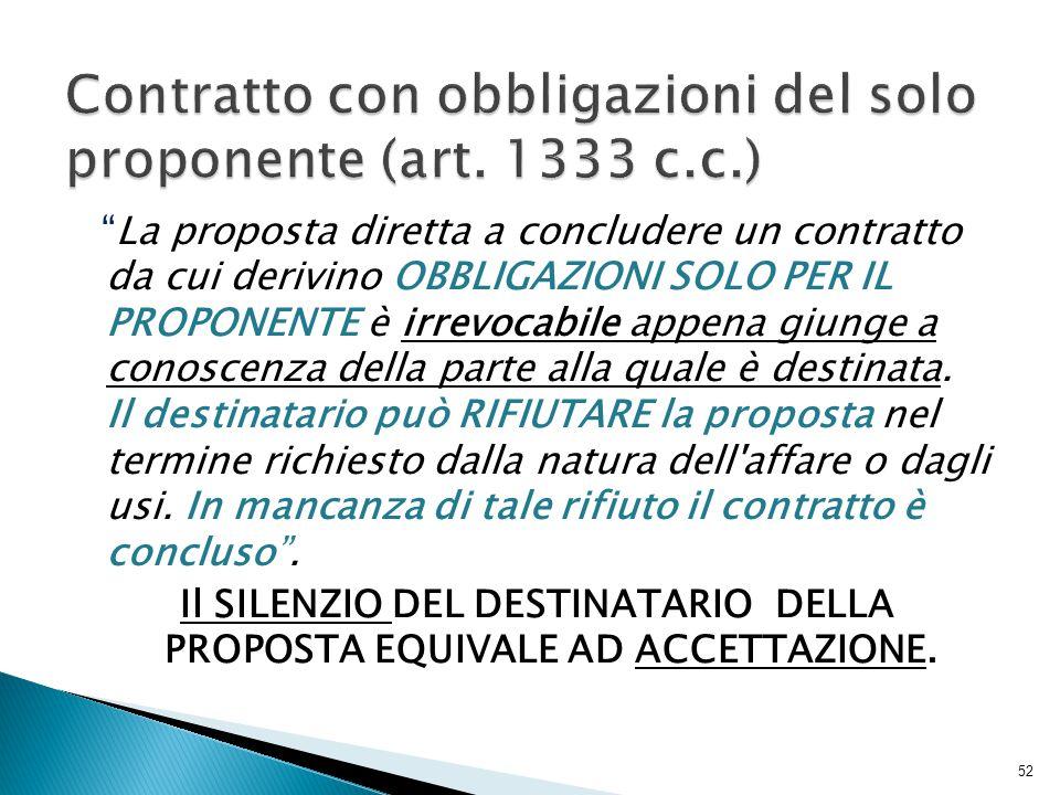 Contratto con obbligazioni del solo proponente (art. 1333 c.c.)