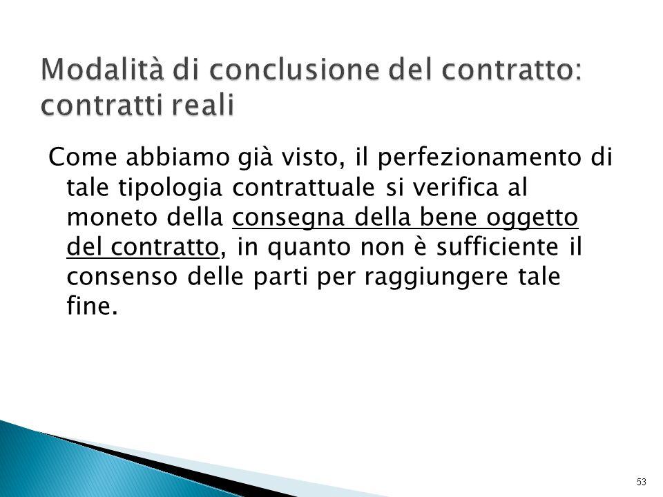 Modalità di conclusione del contratto: contratti reali