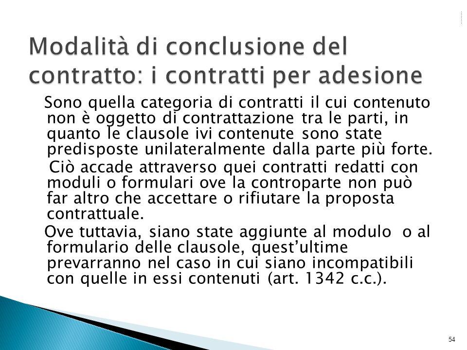 Modalità di conclusione del contratto: i contratti per adesione