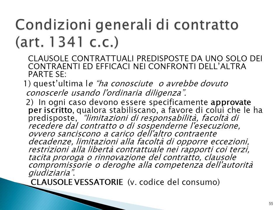 Condizioni generali di contratto (art. 1341 c.c.)