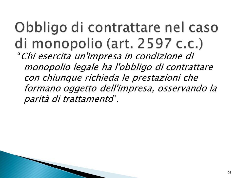 Obbligo di contrattare nel caso di monopolio (art. 2597 c.c.)