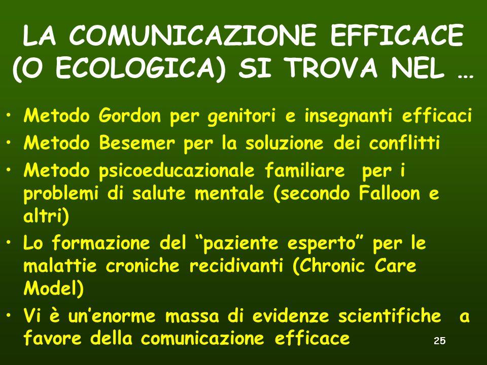 LA COMUNICAZIONE EFFICACE (O ECOLOGICA) SI TROVA NEL …