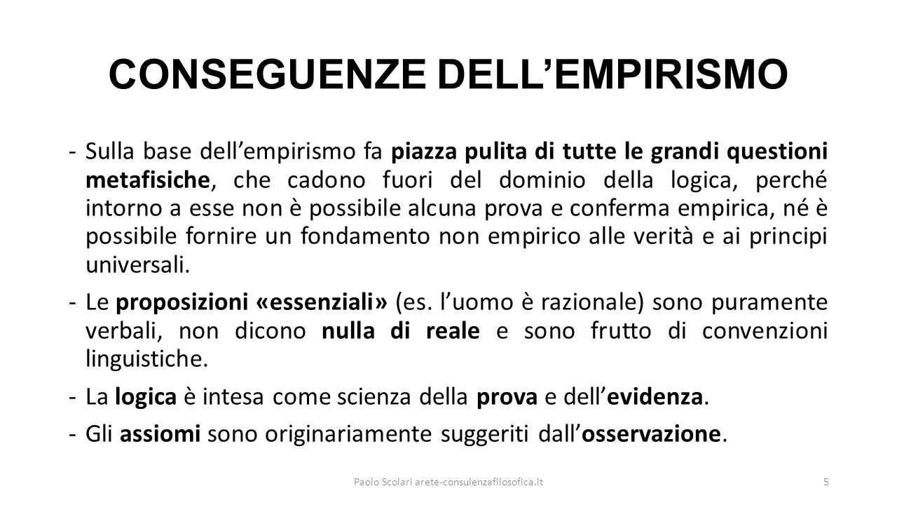 CONSEGUENZE DELL'EMPIRISMO